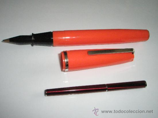 Bolígrafos antiguos: ENORME BOLÍGRAFO DE PLÁSTICO COLOR NARANJA-24 cms-ITALY-CURIOSO. - Foto 4 - 26637087