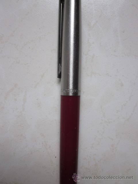 Bolígrafos antiguos: BOLÍGRAFO INOXCROM 55 COLOR GRANATE Y ACERO. - Foto 2 - 30025158