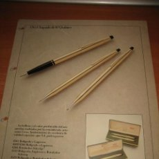 Bolígrafos antiguos: BOLIGRAFOS CROSS 7 HOJAS CON MODELOS DIVERSOS Y ACCESORIOS PERTENECE A UN CATALOGO DE ALMACEN. Lote 31206844