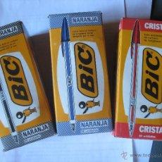 Bolígrafos antiguos: LOTE DE TRES CAJAS DIFERENTES DE BOLIS BIC. Lote 44811110
