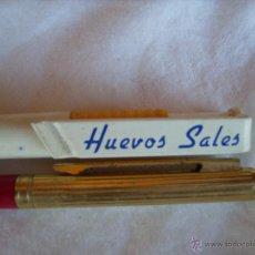 Bolígrafos antiguos: **LOTE DE DOS ANTIGUOS BOLIGRAFOS DE PUBLICIDAD----BCO.SANTANDER Y HUEVOS SALES--- PARA TU COLECCION. Lote 49620956