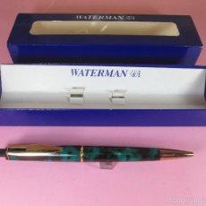 Bolígrafos antiguos: 7581/BOLÍGRAFO-FRANCE-WATERMAN REFLEX-MARMOLADOS NEGROS+VERDES+COMO NUEVO-CAJA. Lote 44407803