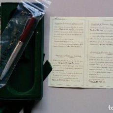Bolígrafos antiguos: BOLÍGRAFO LALEX 1938 EN PLATA DE LEY Y CON SU CERTIFICADO DE AUTENTICIDAD. Lote 95779031