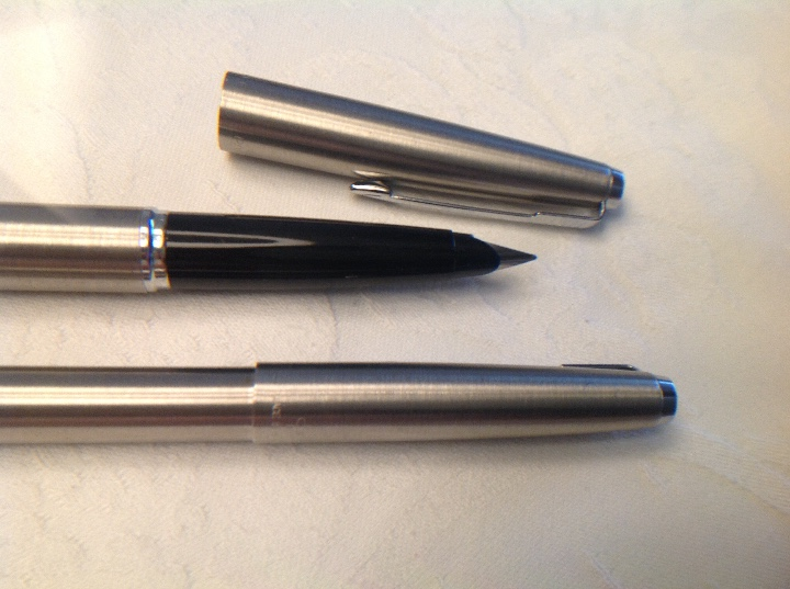 Bolígrafos antiguos: Dúo pluma y bolígrafo Parker plateado y negro - Foto 9 - 114784462