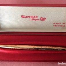 Bolígrafos antiguos: BOLÍGRAFO Y ESTUCHE ORIGINAL. WATERMAN SUPER FLAIR. BAÑO DE ORO.. Lote 109143683