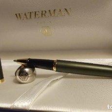 Bolígrafos antiguos: BOLIGRAFO WATERMAN FRANCE VERDE OLIVA . Lote 115732775