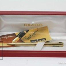 Bolígrafos antiguos: BOLÍGRAFO - SHEAFFER GOLD ELECTROPLATED USA - 70 MEDIUM - CON ESTUCHE/CAJA ORIGINAL. Lote 125882031