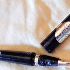 Bolígrafos antiguos: FRANCK MULLER BOLÍGRAFO DISEÑO CIGAR , COLOR AZUL., FOTOS REALES. Lote 130973080