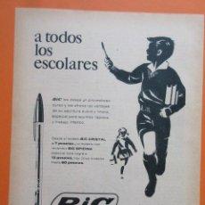 Bolígrafos antiguos: PUBLICIDAD 1962 - COLECCIÓN BOLIS Y PLUMAS - BOLIGRAFO BIC CRISTAL 7 PESETAS. Lote 132204606