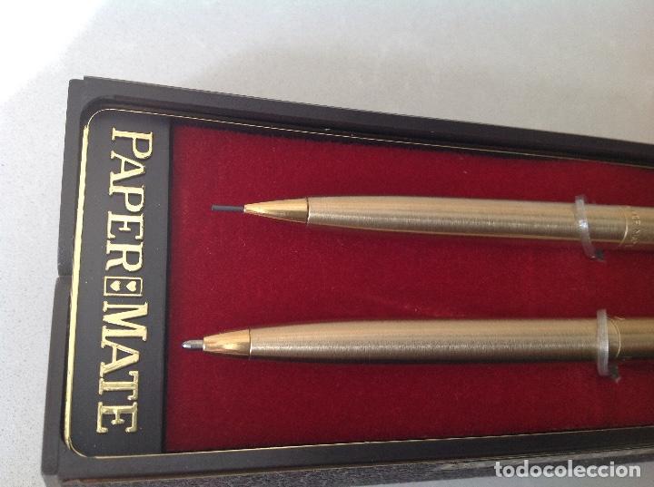 Bolígrafos antiguos: Portaminas y Boligrafo dorados Paper ??mate - Foto 6 - 137307762