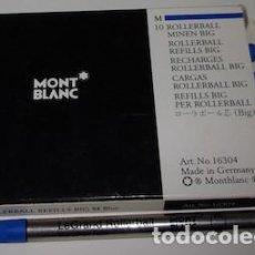 Bolígrafos antiguos: CAJA CON 7 CARGAS ROLLERBALL BIG MONT BLANC, M AZUL. Lote 138860678