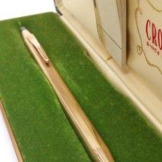 Bolígrafos antiguos: BOLIGRAFO CROSS CUERPO LAMINADO ORO 10KT EN SU ESTUCHE. Lote 143279929