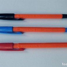 Bolígrafos antiguos: 3 BOLIGRAFOS - INOXCROM 1500 / CUERPO NARANJA - ESCRITURA FINA / SERIE COMPLETA / SIN USAR. Lote 152647694