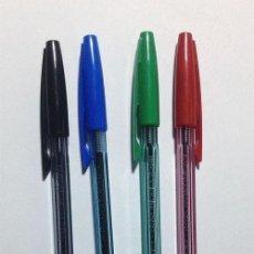 Bolígrafos antiguos: 4 BOLIGRAFOS - INOXCROM 1500 / CUERPO CRISTAL - ESCRITURA NORMAL / SERIE COMPLETA / SIN USAR. Lote 152648102