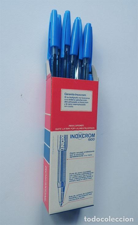 Bolígrafos antiguos: CAJA COMPLETA INOXCROM / 12 BOLIGRAFOS CUERPO CRISTAL / AZUL / SIN USAR / COLECCIONISTAS - Foto 2 - 152648810