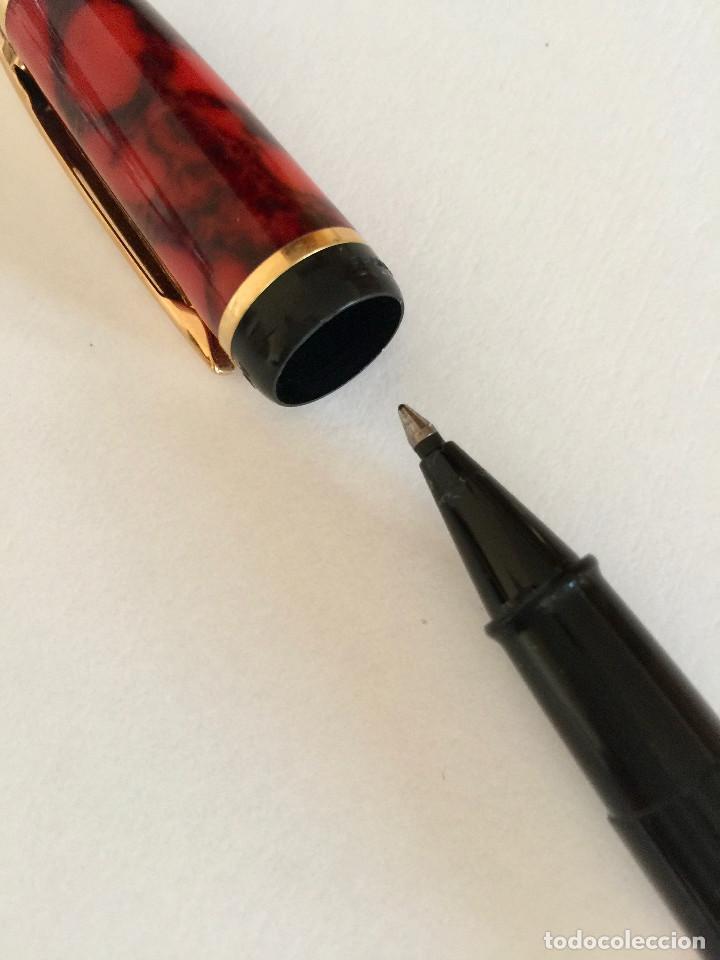 Bolígrafos antiguos: BOLIGRAFO ROLLER WATERMAN-MADE IN FRANCE FRANCIA-RESINA MARMOLIZADA Y BAÑO DE ORO-VINTAGE - Foto 5 - 159129994