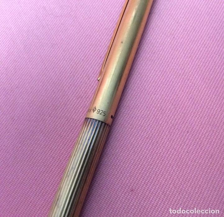 Bolígrafos antiguos: BOLÍGRAFO DORADO Y LACADO EN EL CLIP. PLATA 925. DUPONT. PARIS. LIMADO EN CAPUCHÓN. - Foto 6 - 159889470