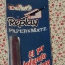 Bolígrafos antiguos: REPLAY DE PAPER MATE BURDEOS EN BLISTER OIGINAL AÑOS 80. A ESTRENAR. Lote 160643414