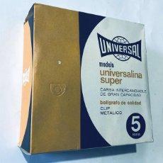 Bolígrafos antiguos: CAJA CON 100 BOLIGRAFOS ( COMPLETA ) UNIVERSAL - MOD: UNIVERSALINA SUPER / CARGA INTERCAMBIABLE. Lote 163515390
