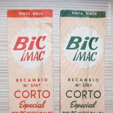 Bolígrafos antiguos: LOTE DE 2 BIC IMAC CORTO ESPECIAL RECAMBIO ORIGINAL EN SU FUNDA. ROJO Y VERDE. AÑOS 60. Lote 164906326