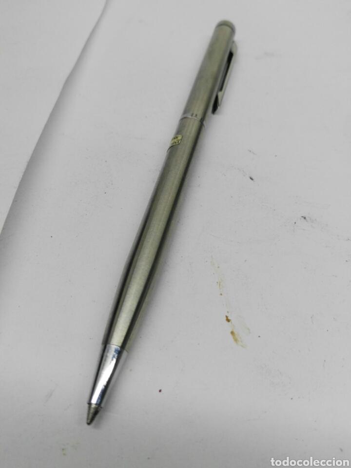 Bolígrafos antiguos: Boligrafo con reloj cuerpo acero en funcionamiento - Foto 2 - 176213522
