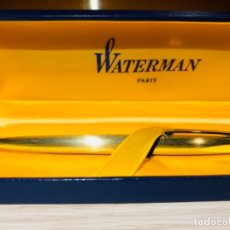 Bolígrafos antiguos: VINTAGE WATERMAN BALLPOINT. GOLD PLATED. MATTE. DELUXE BOX. FRANCE. '80S. Lote 182717833