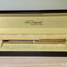 Bolígrafos antiguos: S.T. DUPONT GOLD BALLPOINT. CLASSIQUE, RARE CONVEX RINGS PATTERN. BOX.'80S.. Lote 183006537
