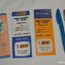 Bolígrafos antiguos: VINTAGE / AÑOS 60 - LOTE DE 2 BOLÍGRAFOS BIC - M4 / M5 Y 3 RECAMBIOS - ORGINALES ¡MIRA!. Lote 194719628