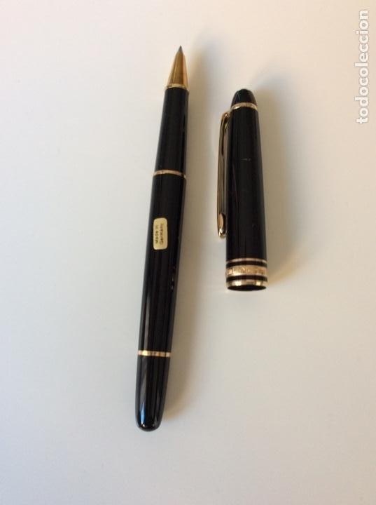 Bolígrafos antiguos: Rollerball refill de Mont Blanc años 70. De resina y oro. Germany. Impecable. Sin usar - Foto 7 - 189480805