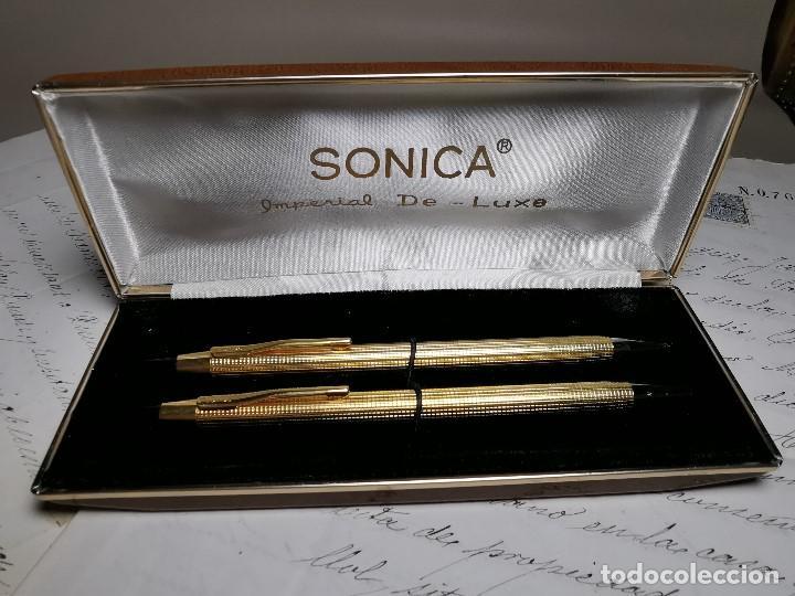 Bolígrafos antiguos: CONJUNTO DE BOLÍGRAFO Y PORTAMINAS SONICA IMPERIAL DE LUXE-ORO - Foto 6 - 197030705