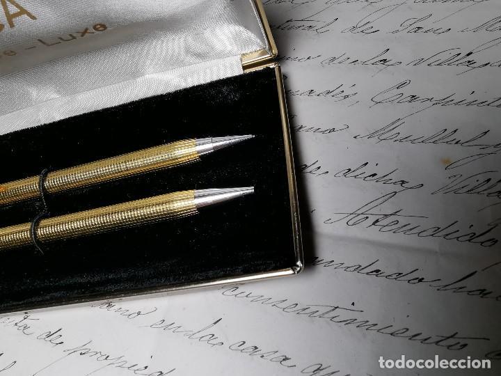 Bolígrafos antiguos: CONJUNTO DE BOLÍGRAFO Y PORTAMINAS SONICA IMPERIAL DE LUXE-ORO - Foto 8 - 197030705