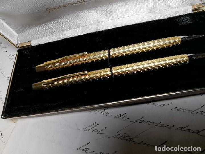 Bolígrafos antiguos: CONJUNTO DE BOLÍGRAFO Y PORTAMINAS SONICA IMPERIAL DE LUXE-ORO - Foto 9 - 197030705
