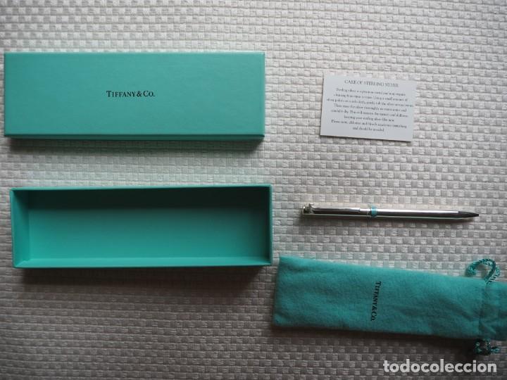 Bolígrafos antiguos: Tiffany &co.Bolígrafo Plata con Clip tiffany T y detalleTiffany Blue.Bolsa y caja original.2000aprox - Foto 3 - 141765498