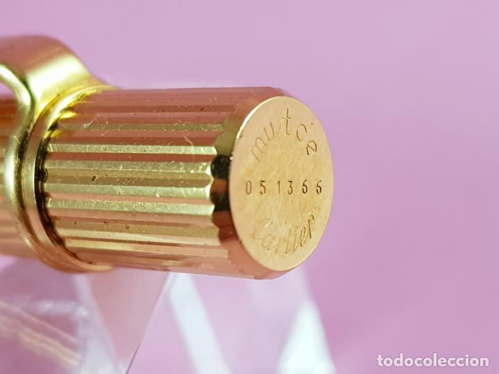 Bolígrafos antiguos: 10338//BOLÍGRAFO-CARTIER ORO LIGNES-EXCELENTE ESTADO-GRABADO CLIP:CAJA MADRID-VER FOTOS - Foto 5 - 222902818