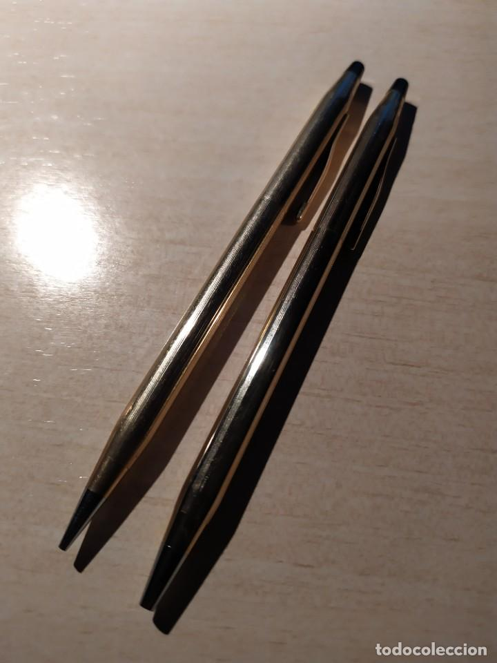 Bolígrafos antiguos: Bolígrafo y porta minas CROSS 1/20 10 KT. Ralled gold Made un ireland - Foto 4 - 222149301