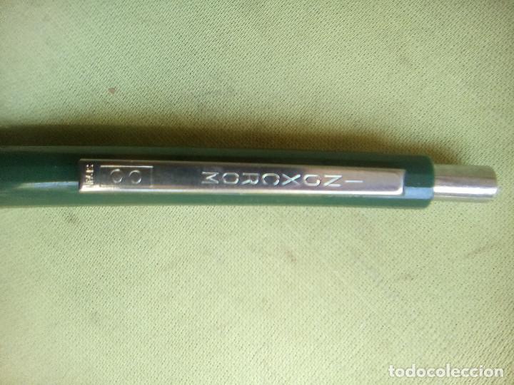 Bolígrafos antiguos: Bolígrafo Inoxcrom color verde oscuro con publicidad. - Foto 4 - 226106780