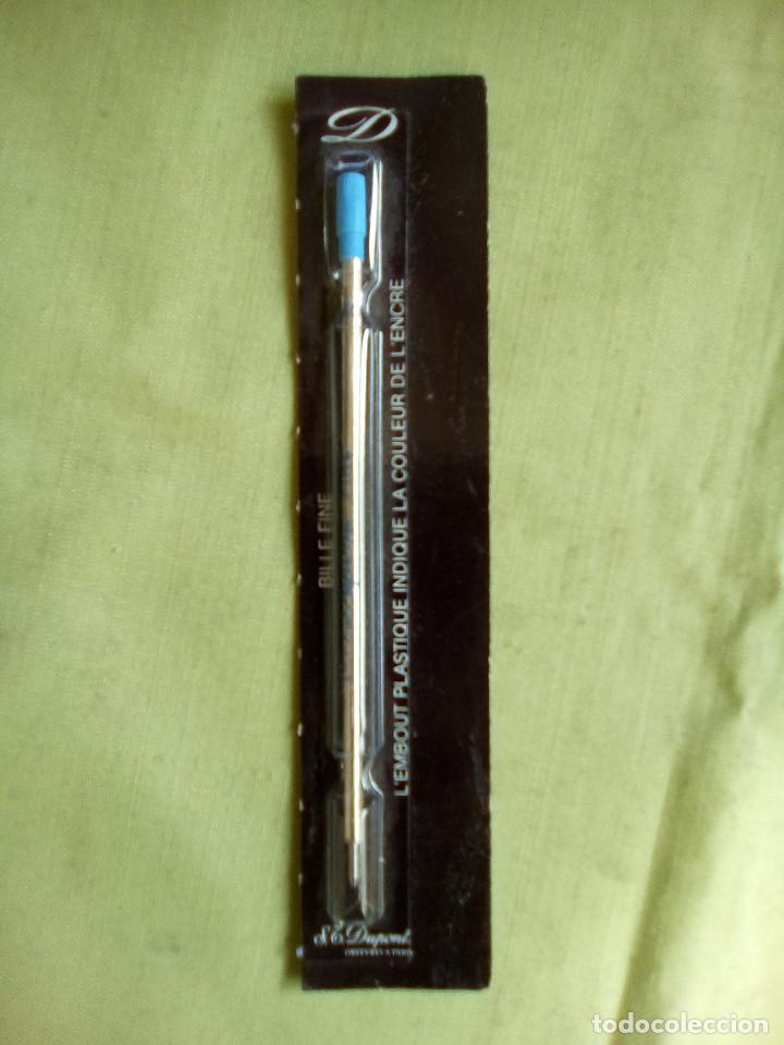 Bolígrafos antiguos: Recambio bolígrafo S.T. Dupont. Bille Fine. Azul. Años 80 - Foto 5 - 226126035