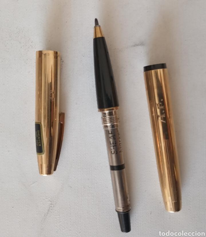 """Bolígrafos antiguos: Boligrafo oro SHEAFFER grabado """"A.P"""" en cuerpo y tape - Foto 7 - 234888710"""