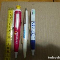 Bolígrafos antiguos: 3 BOLIGRAFOS ANTIGUOS PUBLICIDAD FARMACIA MEDICAMENTOS. Lote 244415465