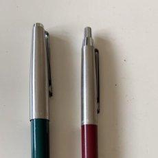 Bolígrafos antiguos: BOLIGRAFOS INOXCROM PAREJA MODELO 77 Y 55. Lote 245082400