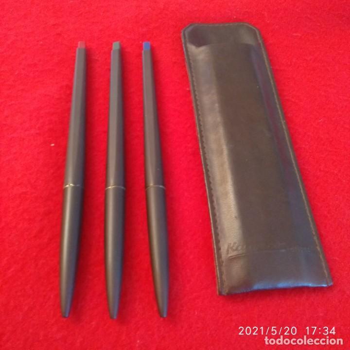 Bolígrafos antiguos: Tres bolígrafos Kaweco en su estuche original piel. Ver fotos. - Foto 3 - 264210240