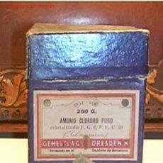 Botellas antiguas, cajas y envases: CAJA DE FARMACIA DE CARTON VACIA,250G (AMONIO CLORURO PURO)CON SELLO DE 20CTS. Lote 695249