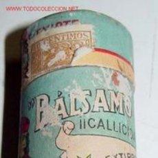 Botellas antiguas, cajas y envases: ANTIGUO ENVASE CILINDRICO DE PUBLICIDAD DE BALSAMO EN CARTON LITOGRAFIADO - FARMACIA - MIDE 9,5 CMS.. Lote 27293521