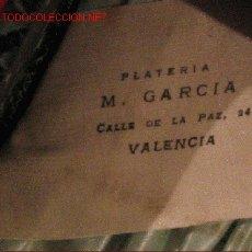 Botellas antiguas, cajas y envases: PLATERIA M GARCIA - VALENCIA. Lote 4081742
