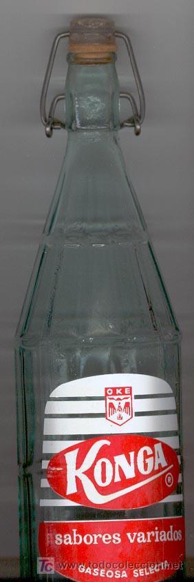 BOTELLA GASEOSA ******* KONGA ******* 1 LITRO - CON TAPON (Coleccionismo - Botellas y Bebidas - Botellas Antiguas)