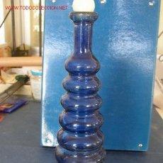 Botellas antiguas: BOTELLA DE VIDRIO PRENSADO ( 2 MOLDES) AZUL, VER FOTOS.. Lote 20068241