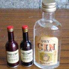 Botellas antiguas: TRES BOTELLAS DE LICOR. Lote 17766582
