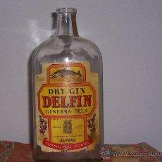 Botellas antiguas: BOTELLA ANTIGUA DE LA GINEBRA DELFÍN , DE 1 LITRO. Lote 25755762