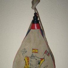 Botellas antiguas: BOTA DE VINO FRANQUISTA CON LA IMAGEN DE FRANCO Y BANDERA NACIONAL, FALANGE Y CARLISTA. Lote 47144972