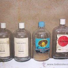 Botellas antiguas: LOTE DE 4 BOTELLAS DE COLONIA MUY ANTIGUAS CON SU TAPON Y ETIQUETA ORIGINAL. Lote 27460106